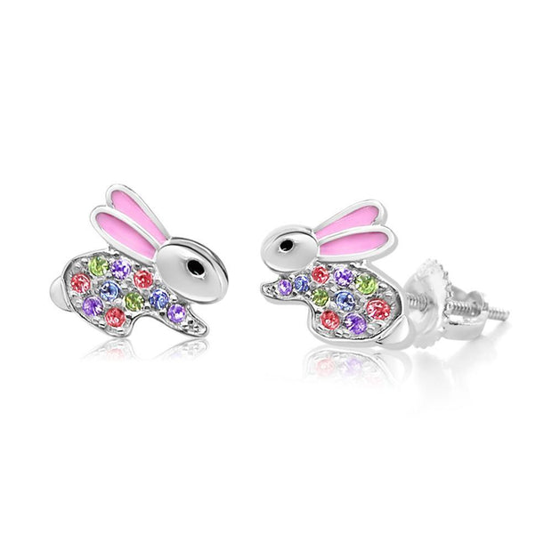 Swavorski Crystal Pink Enamel Bunny Screwback Earrings - Joy of London Jewels