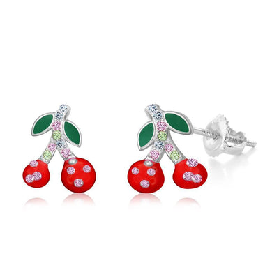 Swavorski Crystal Cherries Screwback Earrings - Joy of London Jewels
