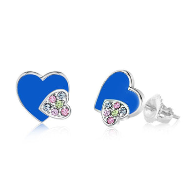 Swavorski Enamel Double Heart Screwback Earrings - Joy of London Jewels