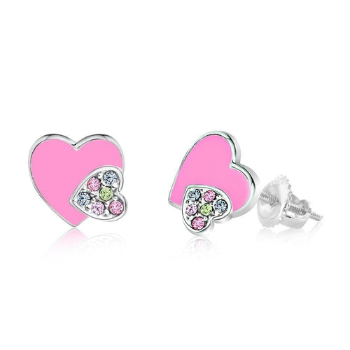 Swavorski Enamel Double Heart Screwback Earrings