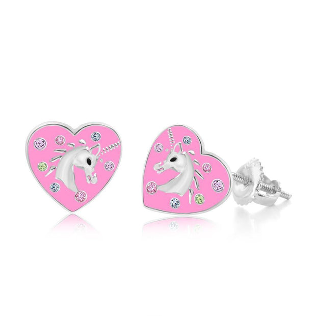 Swavorski Pink Enamel Heart Unicorn Screwback Earrings - Joy of London Jewels