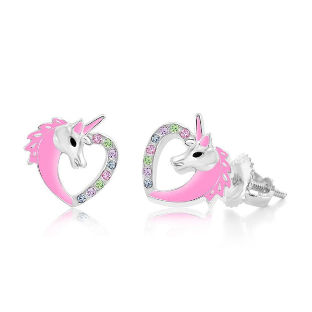 Swavorski Crystal Pink Enamel Unicorn Heart Screwback Earrings