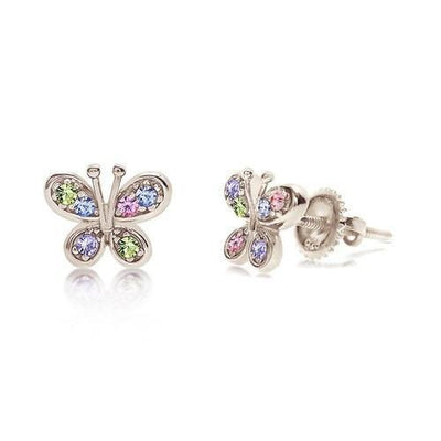 Swavorski Multi Color Butterfly Screwback Earrings