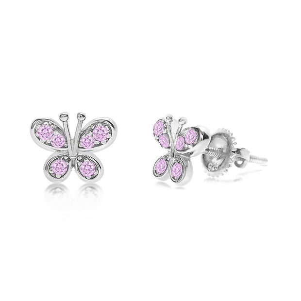 Kids Swavorski Crystal Butterfly Screwback Earrings