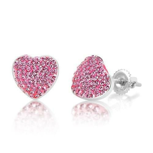 Swavorski Heart Screwback Earrings