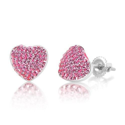 Swavorski Heart Screwback Earrings - Joy of London Jewels