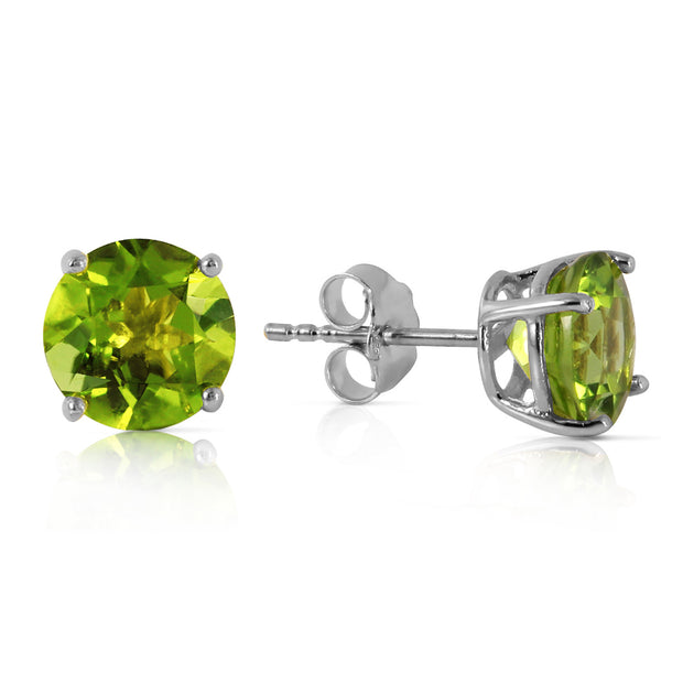 6mm Round Cut Green Peridot AAAAA Cubic Zirconia Stud Earrings