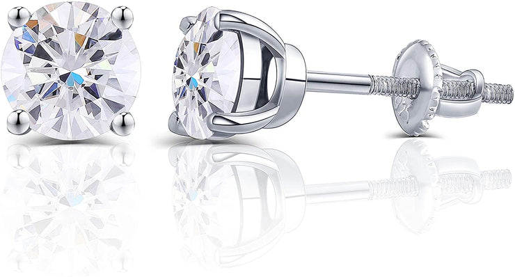 14K White Gold Round Brilliant Cut Moissanite Screw Back Stud Earrings - Joy of London Jewels