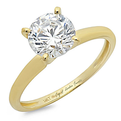 A Classic 14K Yellow Gold 2CT Round Cut Belgium Lab Solitaire Engagement Ring - Joy of London Jewels