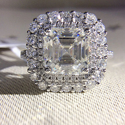 14K White Gold 2CT (7mm) Moissanite Asscher Cut Echo Halo Engagement Ring - Joy of London Jewels