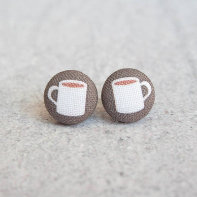 Coffee Cup Fabric Button Studs - Joy of London Jewels