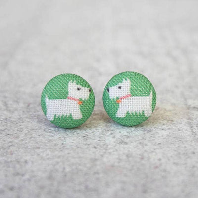 Westie Fabric Button Studs - Joy of London Jewels