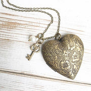 Handmade Vintage Style Brass Heart Floral Locket Necklace