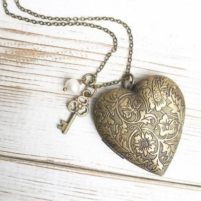 SALE  Handmade Vintage Style Floral Heart Locket Necklace - Joy of London Jewels