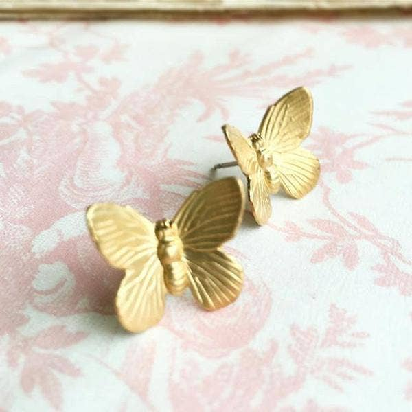 SALE  Handmade Sweet Golden Butterfly Earrings - Joy of London Jewels