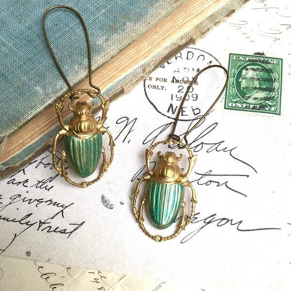 Handmade Vintage Victorian Green Forest Beetle Earrings