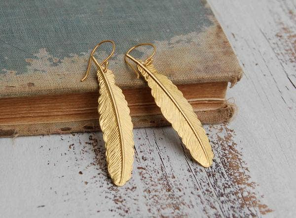 SALE  Handmade Golden Vintage Feather Earrings - Joy of London Jewels