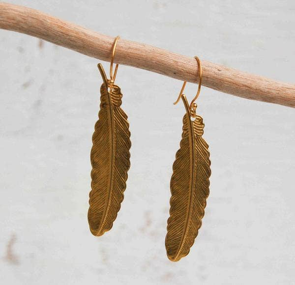 Handmade Golden Vintage Feather Earrings