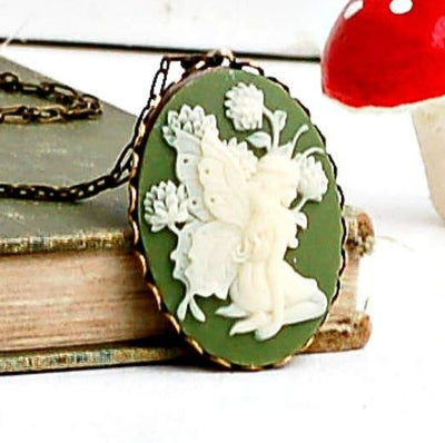 Handmade Victorian Carved Sage Green Fairy Cameo Necklace
