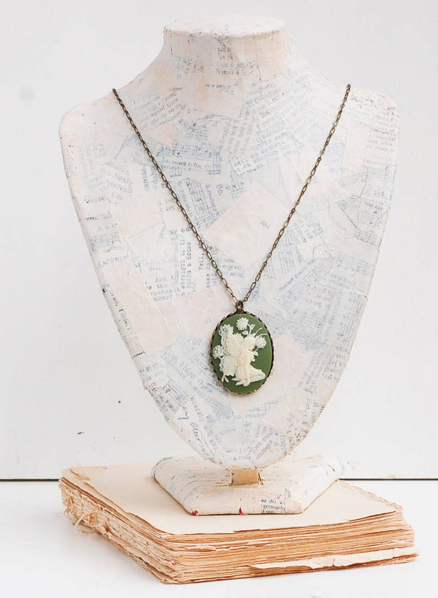 Handmade Victorian Carved Sage Green Fairy Cameo Necklace - Joy of London Jewels
