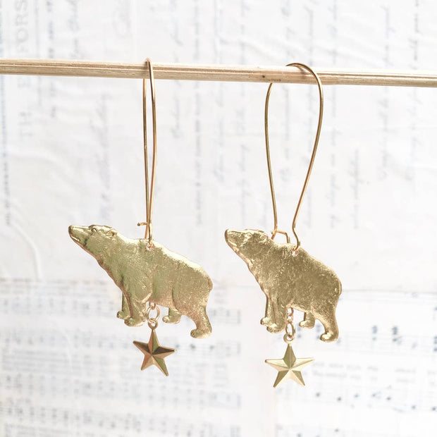 "Handmade Golden Vintage Bear & Star ""Ursa Major"" Constellation Earrings - Joy of London Jewels"