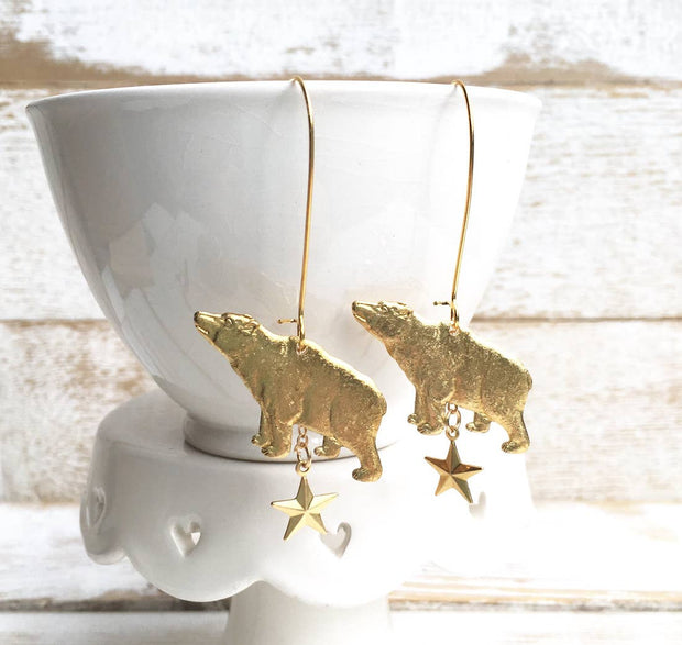 "Handmade Golden Vintage Bear & Star ""Ursa Major"" Constellation Earrings"