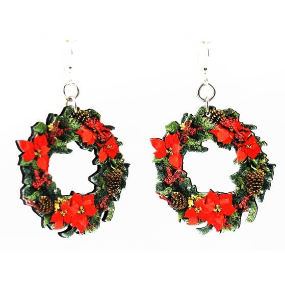 Large Holiday Wreath Earrings - Joy of London Jewels