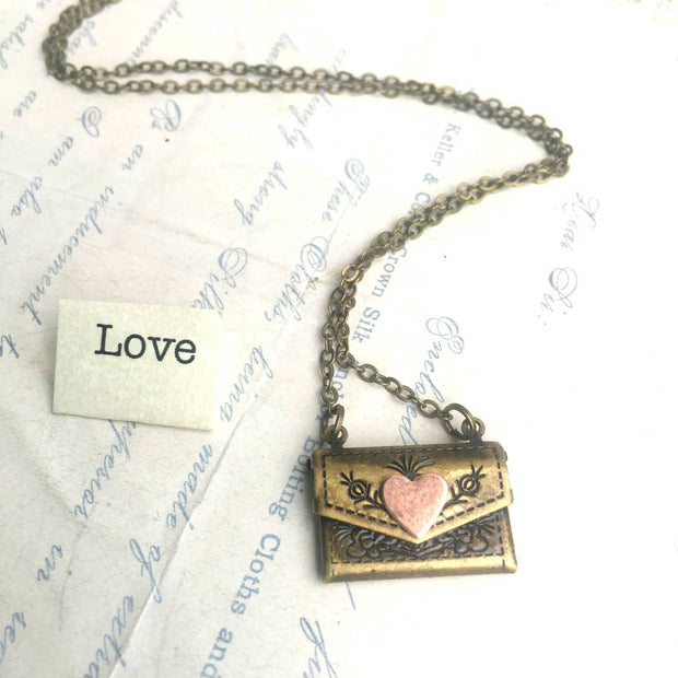 SALE  Handmade Secret Message Heart Envelope Locket Necklace - Joy of London Jewels