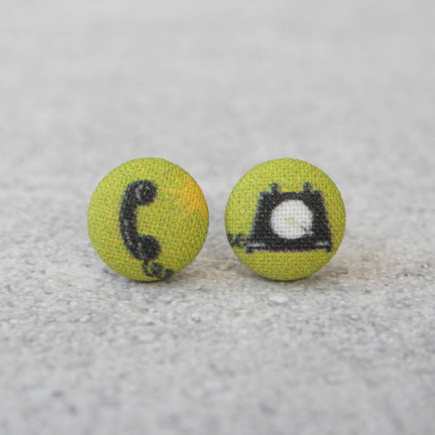 Vintage Landline Phone Fabric Button Studs - Joy of London Jewels