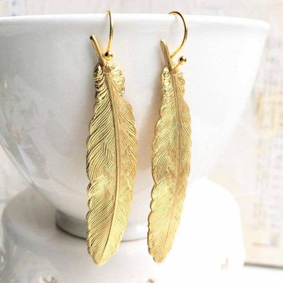 Handmade Golden Vintage Feather Earrings - Joy of London Jewels