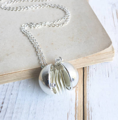 Handmade Accordian Folded Paper Secret Message Locket Necklace - Joy of London Jewels