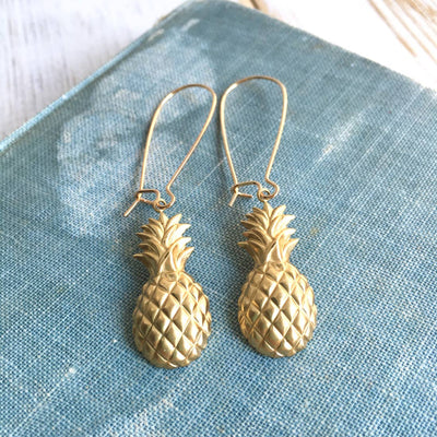 Handmade Golden Pineapple Earrings - Joy of London Jewels