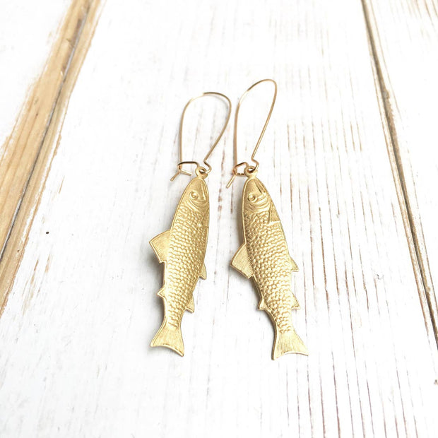 "Handmade Golden ""Great Catch"" Fish Earrings"
