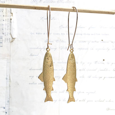 "SALE  Handmade Golden ""Great Catch"" Fish Earrings - Joy of London Jewels"