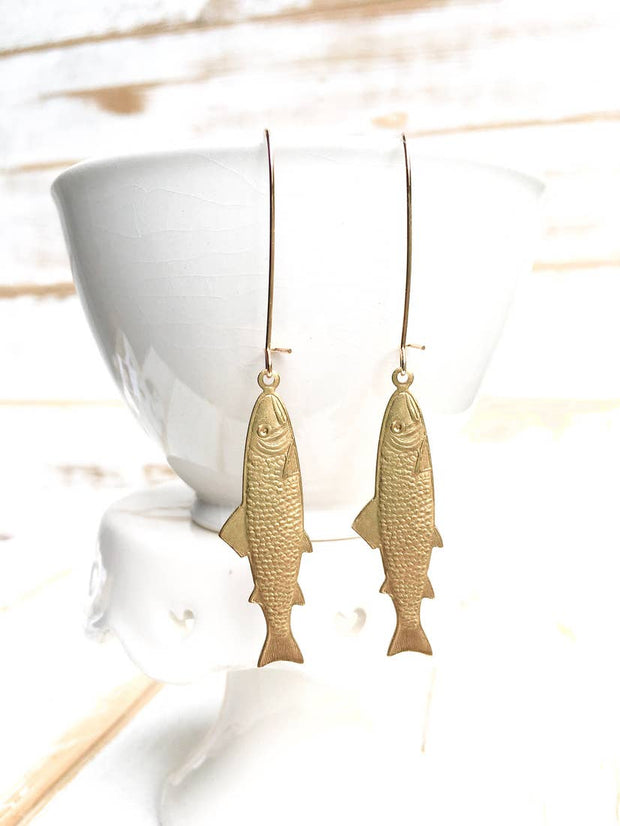"Handmade Golden ""Great Catch"" Fish Earrings - Joy of London Jewels"