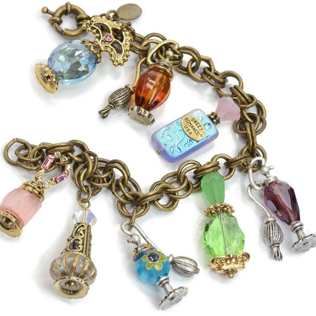 """No Bottles to Break - Just Hearts"" Perfume Bottle Charm & Locket Bracelet"