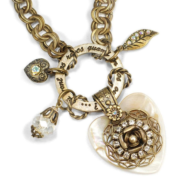 A French Mother of Pearl Heart & Roses Dream Bracelet - Joy of London Jewels