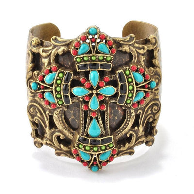 Colors of the Earth Mayan Cross Cuff Bracelet - Joy of London Jewels