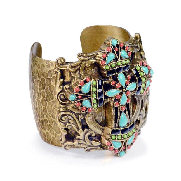 Colors of the Earth Mayan Cross Cuff Bracelet