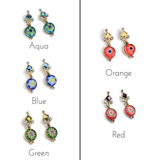Italian Millefiori Glass Flower Earrings - Joy of London Jewels