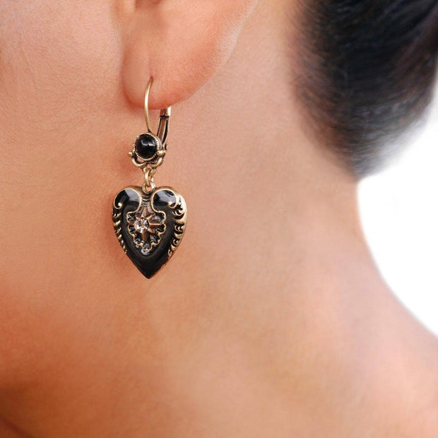 Antique Style Black Enamel Heart Earrings - Birthday Gift