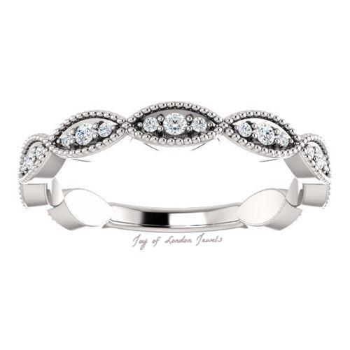 14K White Gold Natural Mined Diamond Stacking Wedding Band - Joy of London Jewels