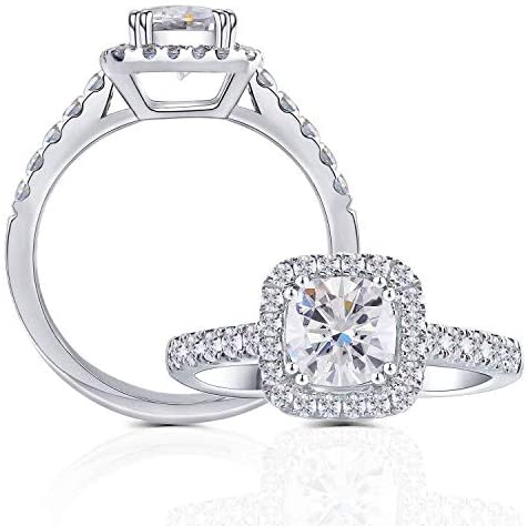 A 10K White Gold 1.1CT Cushion Cut Moissanite Halo Engagement Ring - Joy of London Jewels
