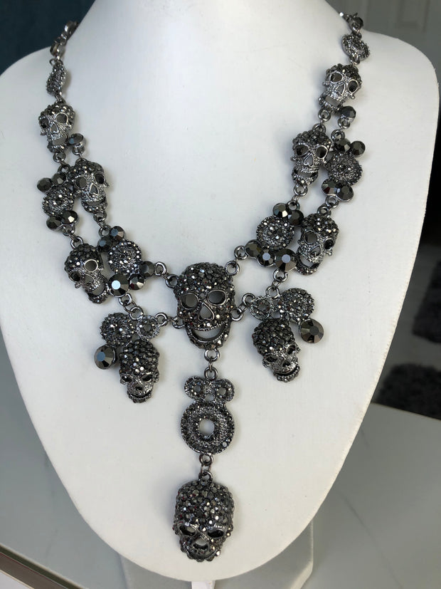 The Tyrian,  A Black Skull Layer Necklace