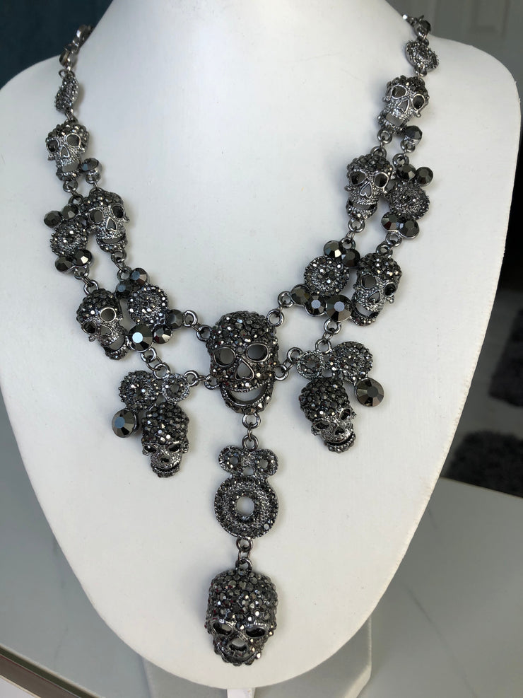 The Tyrian,  A Black Skull Layer Necklace - Joy of London Jewels