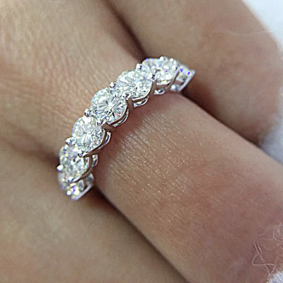 14K White Gold 2.1TCW Moissanite 3mm Moissanite Half Eternity Band