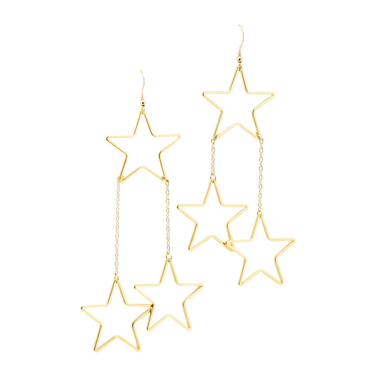 Triple Drop Star Earrings - Joy of London Jewels