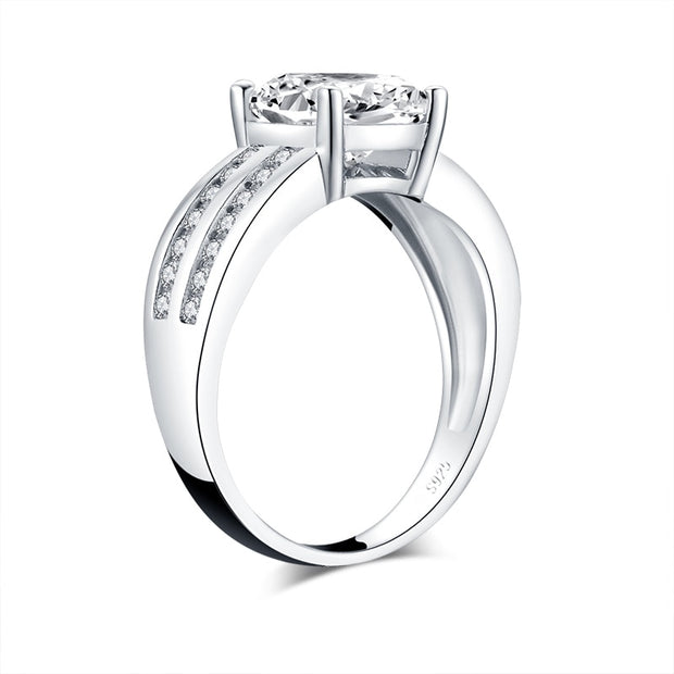 A Flawless 18K White Gold 3CT Radiant Cut Belgium Lab Diamond Engagement Ring - Joy of London Jewels