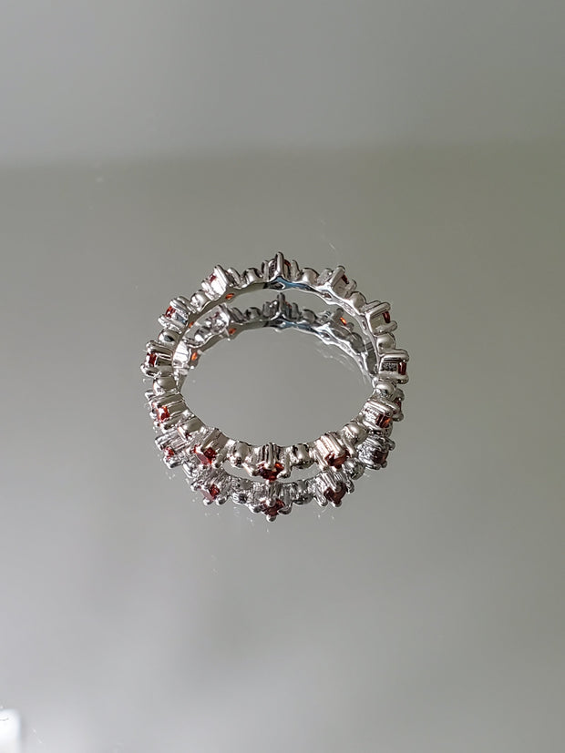 Natural Red Garnet Full Eternity Ring - Joy of London Jewels