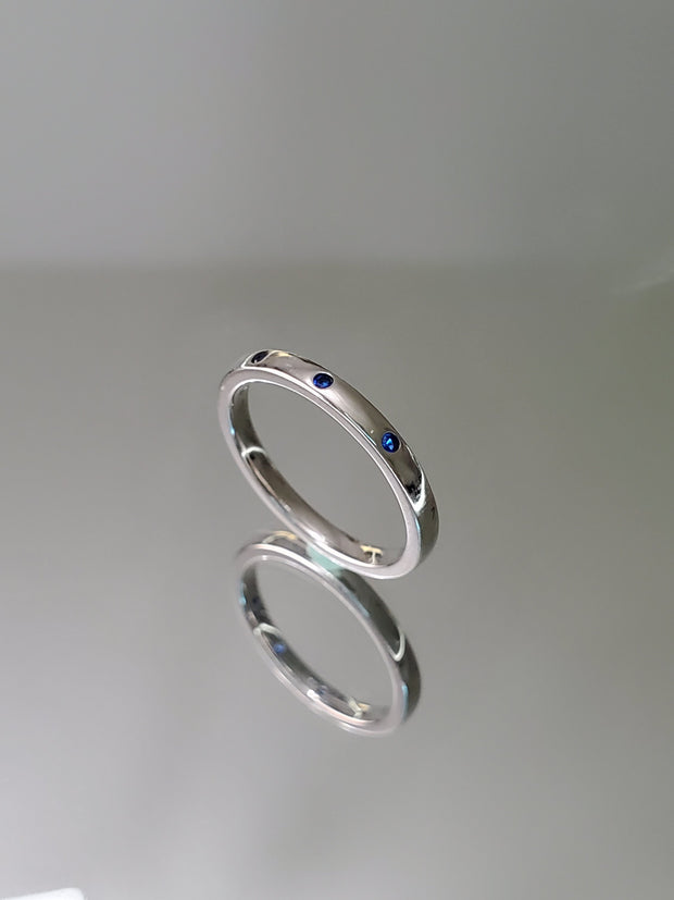 Natural Blue Spinel Sterling Silver Wedding Stacking Band